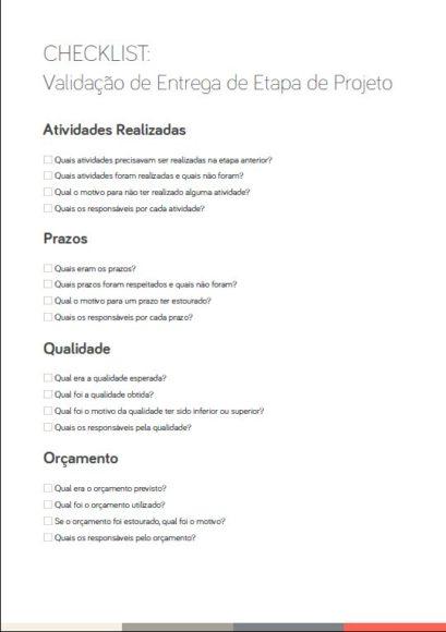 Checklist de Validação das Etapas de um Projeto