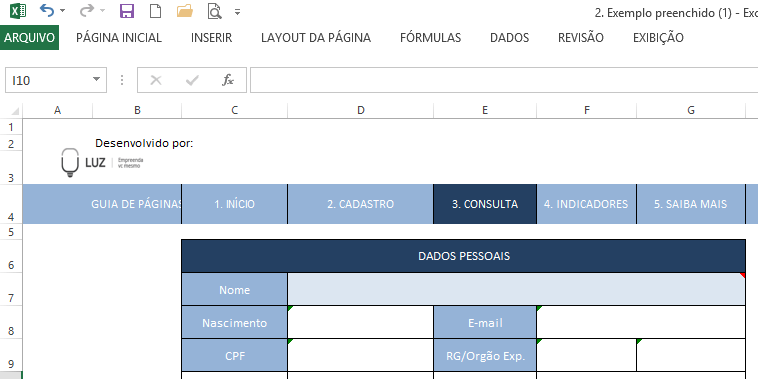 Tabela para uso do PROCV