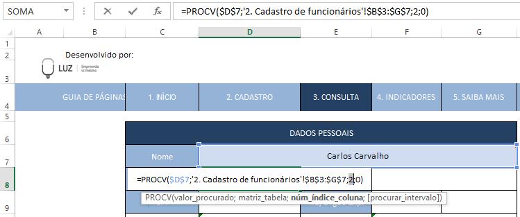 fórmula procv por extenso