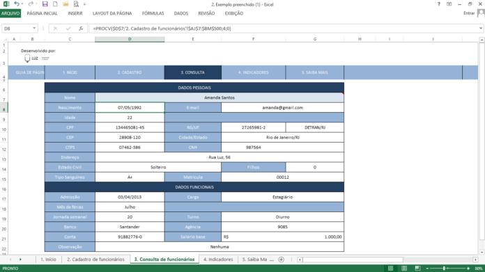 Exemplo prático de uso da fórmula PROCV do excel em banco de dados de funcionários