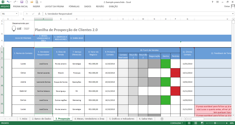 Banco de dados de prospecção de clientes no excel