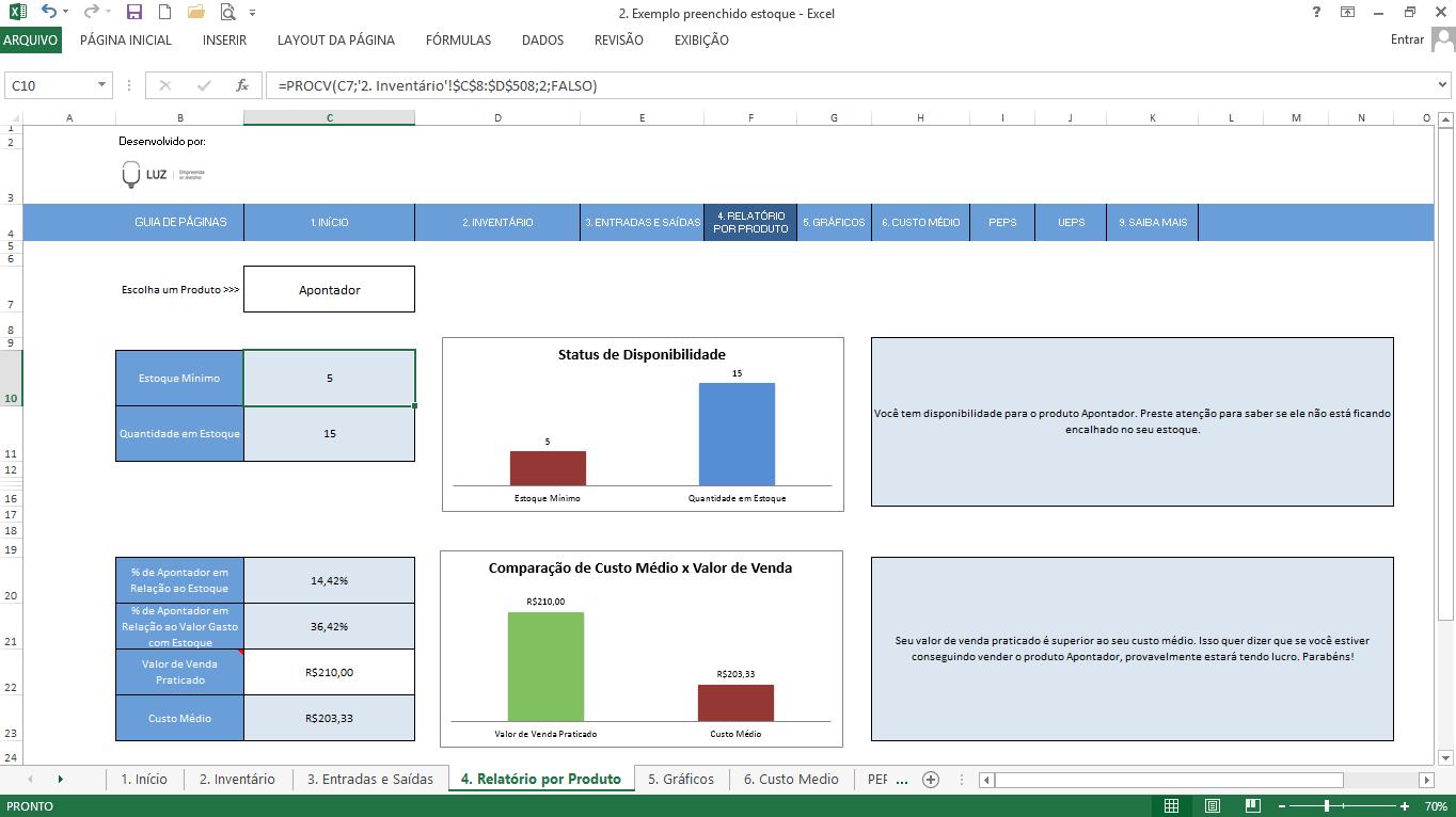 Exemplo prático de uso da fórmula PROCV do excel em banco de dados de estoques de produtos