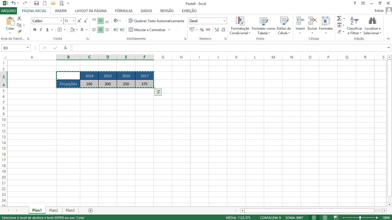 Atalho para Copiar no Excel