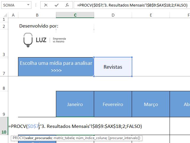 Sintaxe da fórmula PROCV