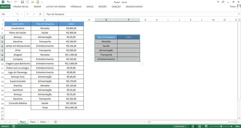 tabela criada para uso da fórmula somase no excel