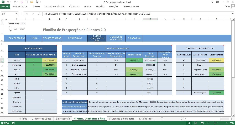 Resultados e indicadores do funil de vendas usando a função SOMASE no excel