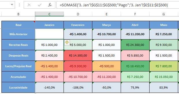 fórmula somase na tabela de fluxo de caixa