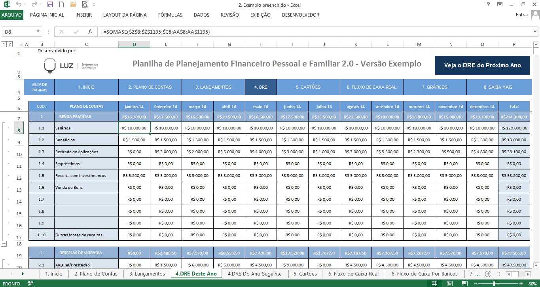 uso da fórmula somase na planilha de finanças pessoais