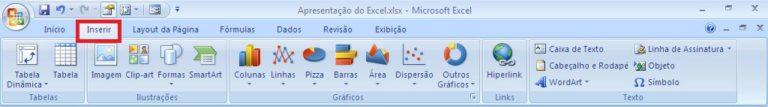 Como funciona o Excel - Guia Inserir