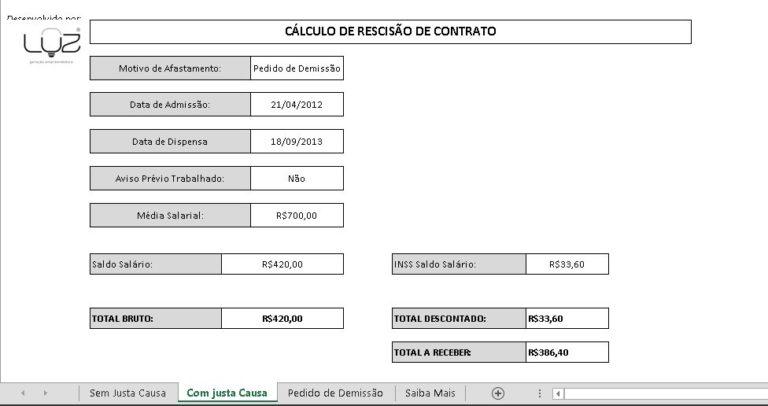 cálculo de rescisão de contrato - segundo exemplo