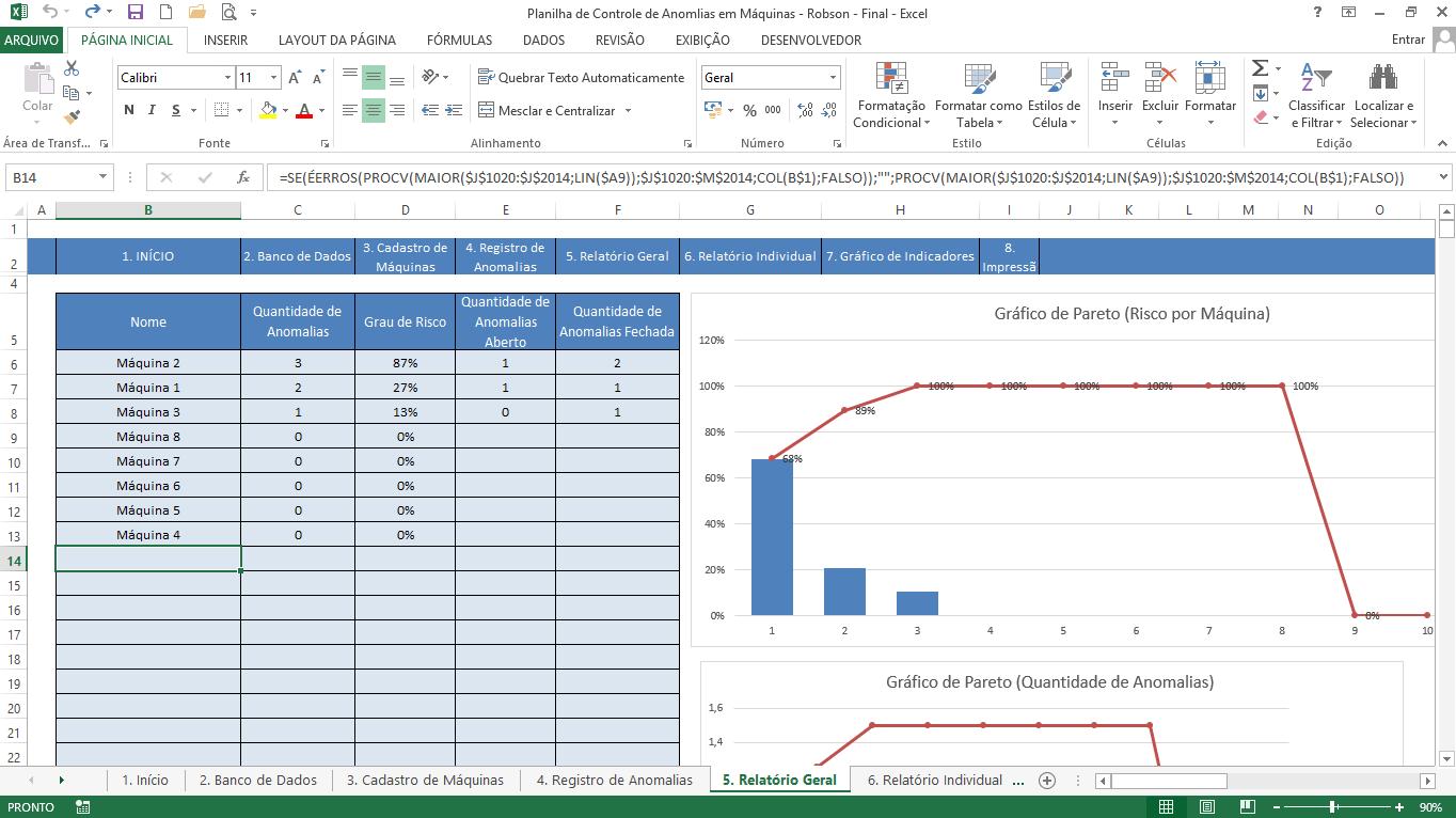 Exemplo de uso da função ÉERROS em planilha de controle de defeito em máquinas