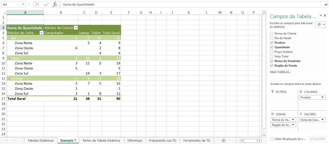 área de valores - com quantidade
