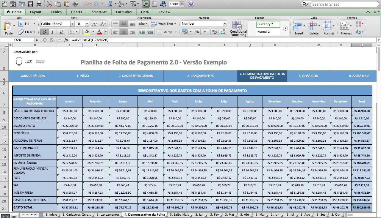 Planilha de folha de pagamento 2.0 6