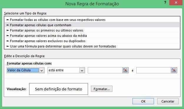 exemplo regra formatação condicional