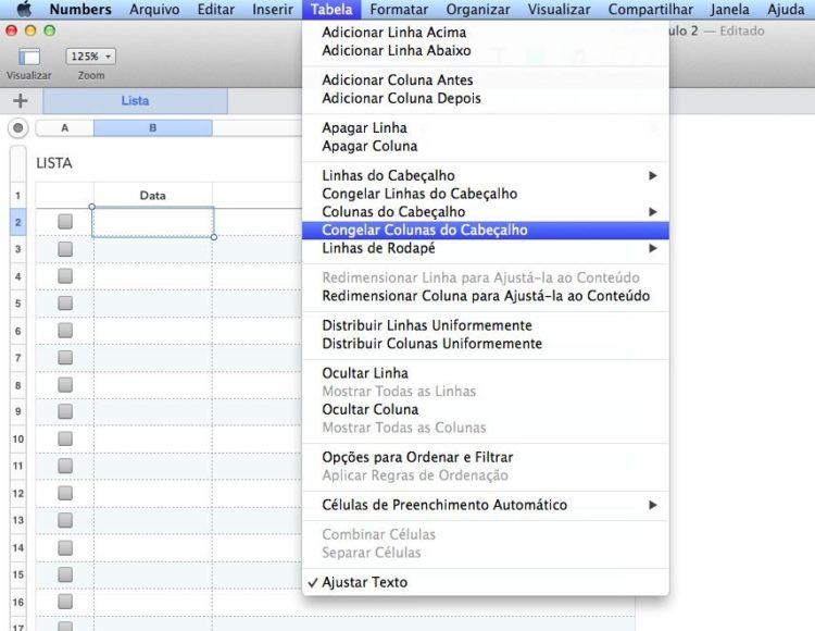 Como congelar painéis em uma planilha (Excel, Google e Numbers) 2