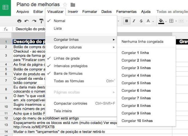 Como congelar painéis em uma planilha (Excel, Google e Numbers) 3