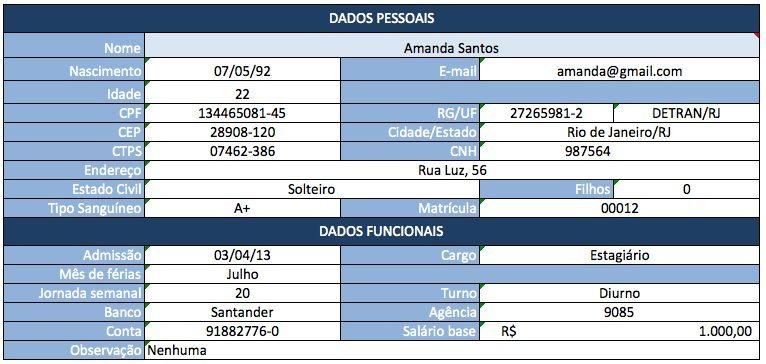 Organizar o DP da Empresa - Cadastro do Funcionário