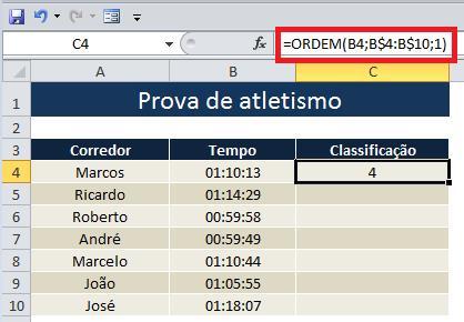 Conheça a função Ordem do Excel
