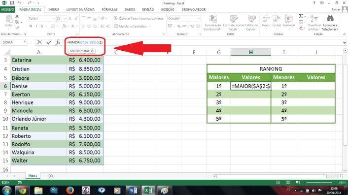 Usando as funções maior e menor para fazer ranking no Excel