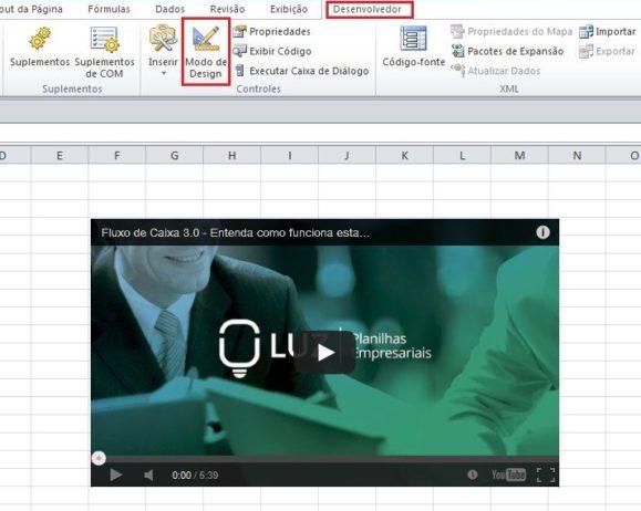 Inserindo vídeos do YouTube em uma planilha Excel