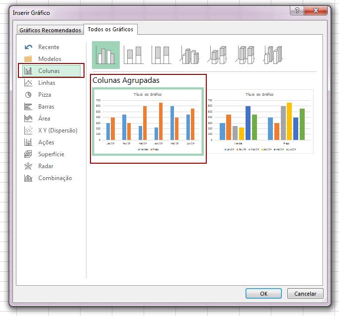 Passo a passo de como combinar dois gráficos no Excel