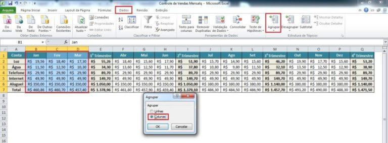 Agrupando tópicos com validação de dados