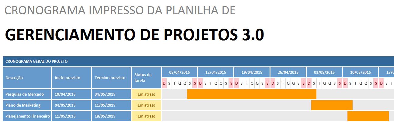 Planilha de gerenciamento de projetos - impressão do cronograma