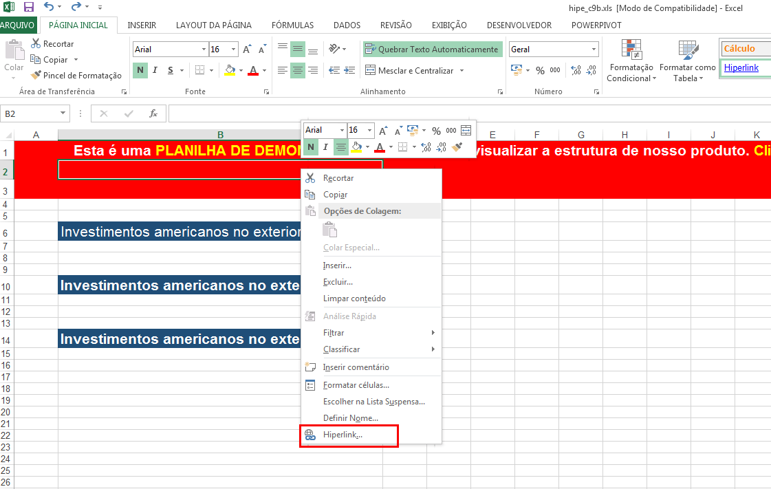 Learn how to insert hyperlinks in Excel to make menus and spreadsheet