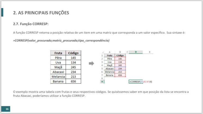 Função CORRESP - Ebook Funções dentro de funções do excel