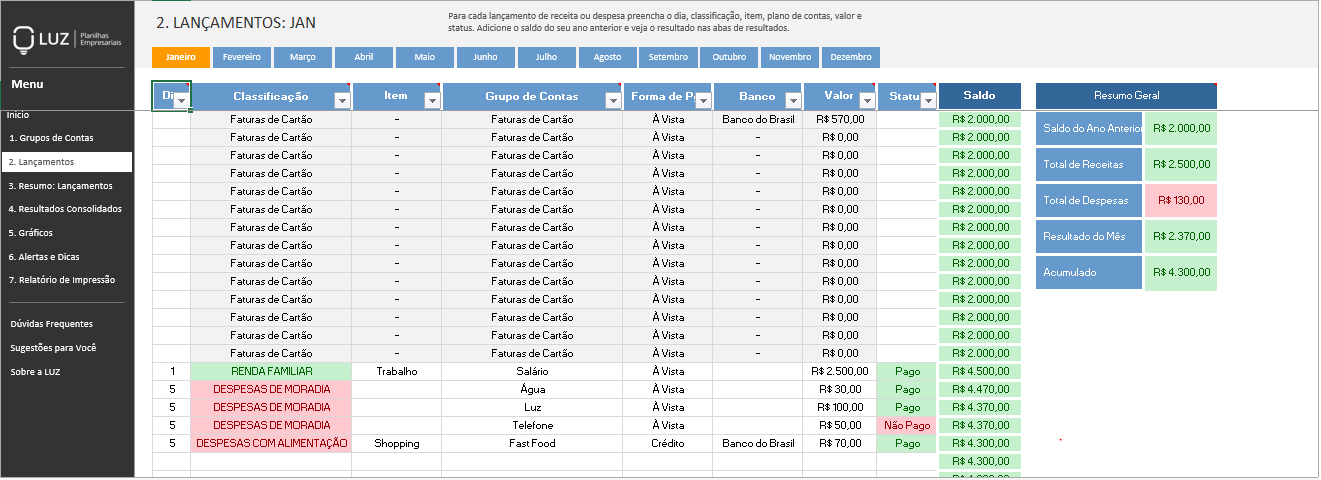 Planilha de Finanças Pessoais - Tabelas