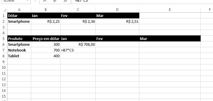 Como usar referências relativas e absolutas em fórmulas e funções do excel