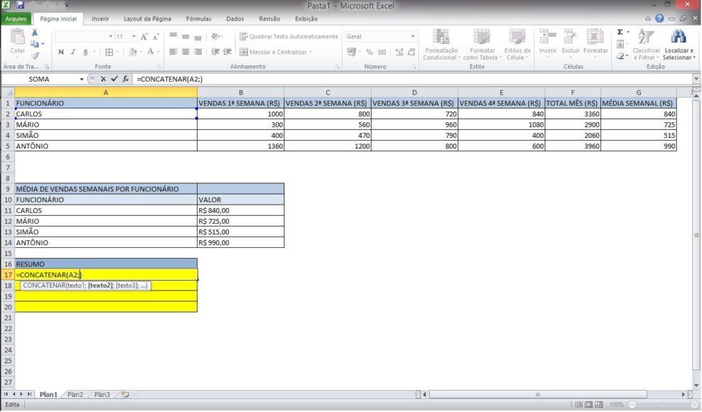 Simplificando a função TEXTO, CONCATENAR e &