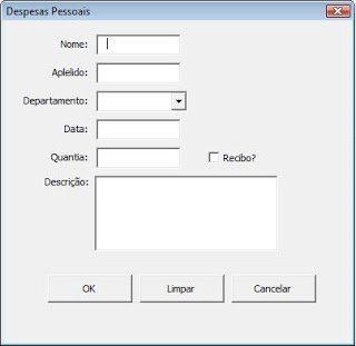 Formulário para banco de dados em excel