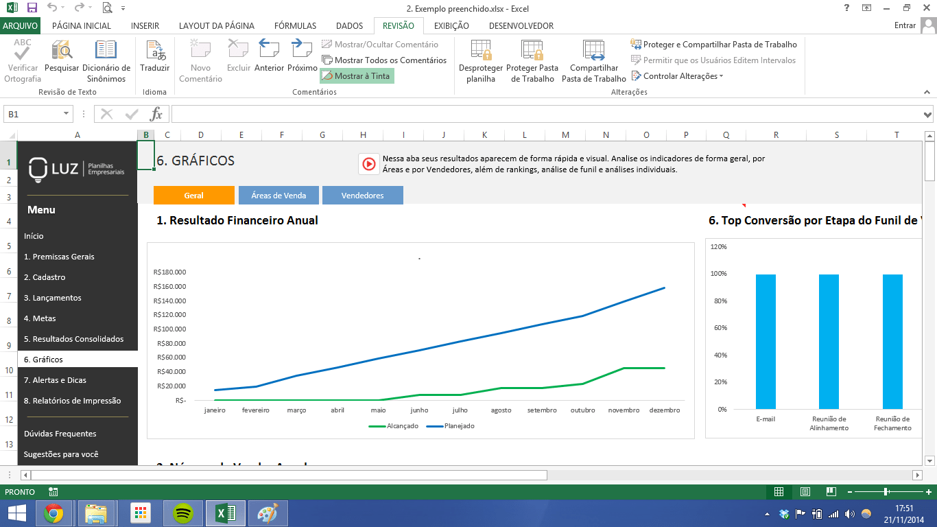 sales charts generated from database in excel