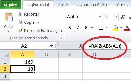 Como calcular raiz quadrada no Excel