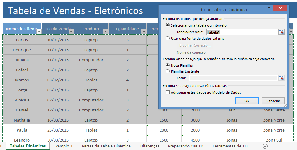 Relatório de tabela dinâmica - inserir tabela dinâmica