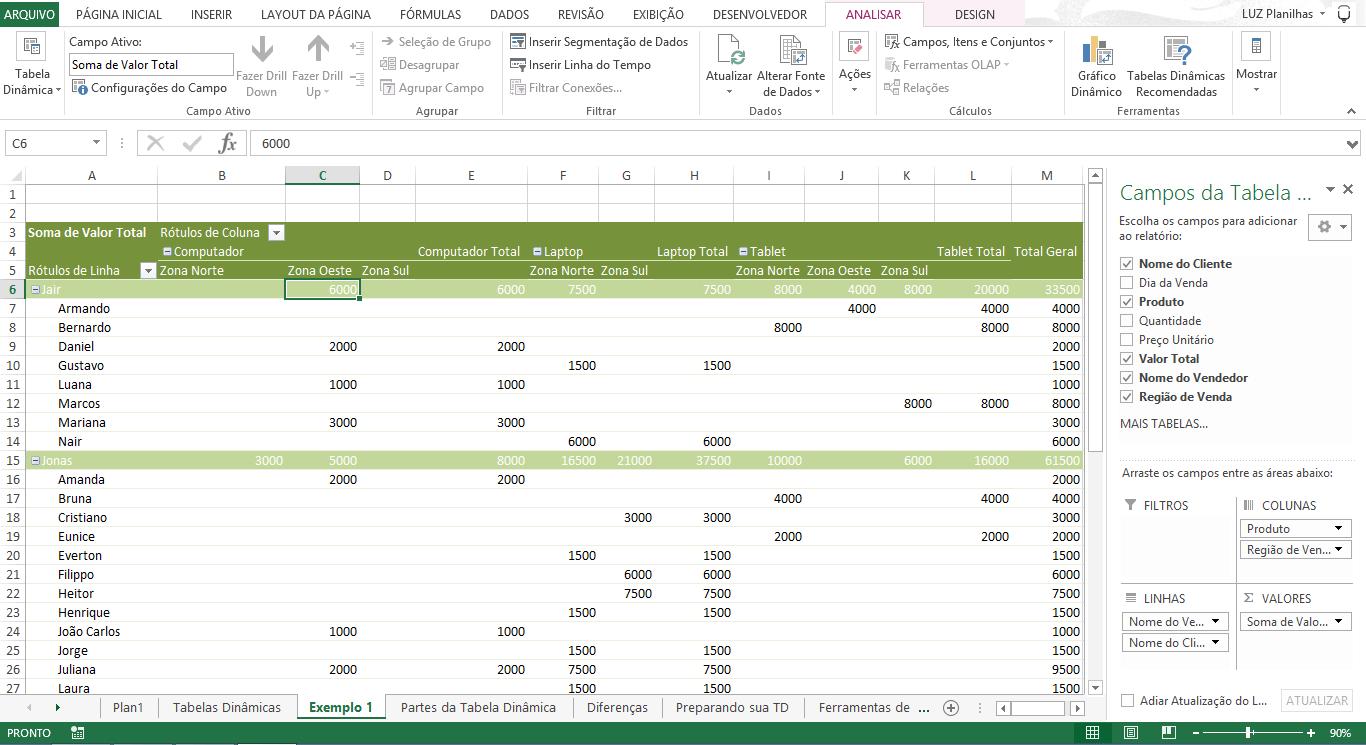 Relatório de tabela dinâmica - tabela dinâmica