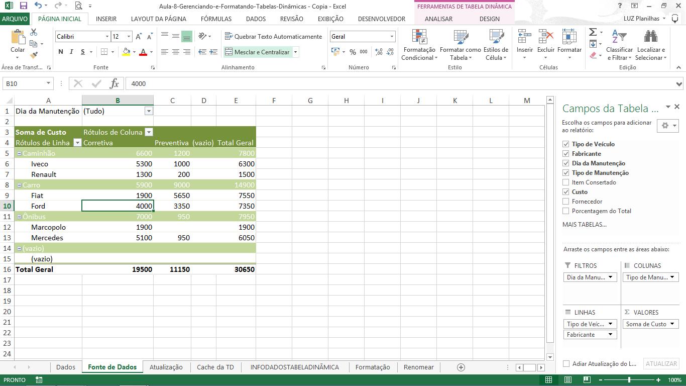 Planilhas pesadas ou lentas - tabelas dinâmicas excel