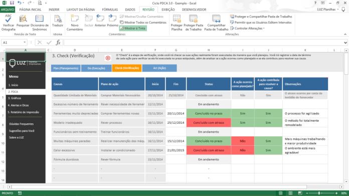 Ferramentas da Qualidade - Ciclo PDCA em Excel