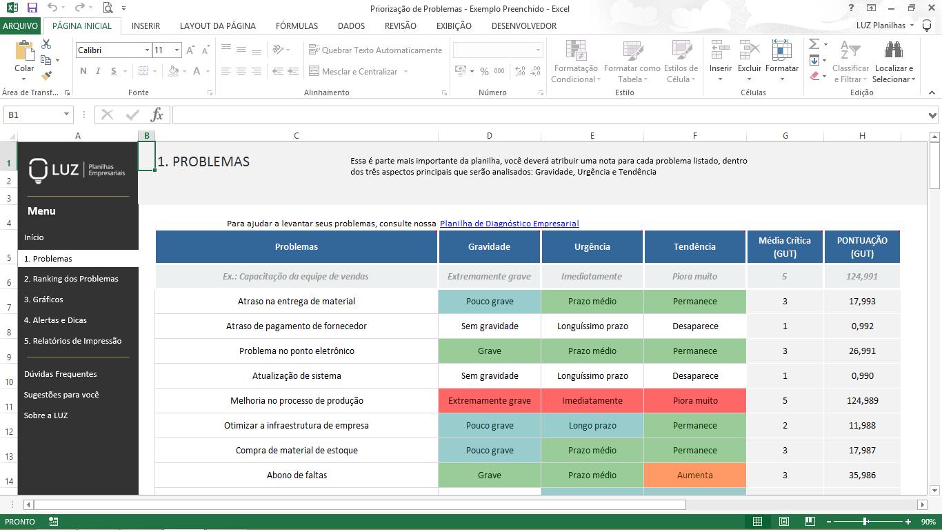 Ferramentas da Qualidade - Matriz GUT - Priorização de Problemas em Excel