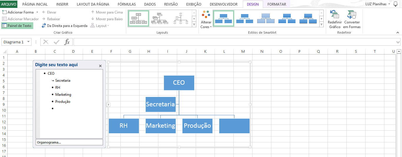 Organizational Charts - How to do in excel - vertical organization chart