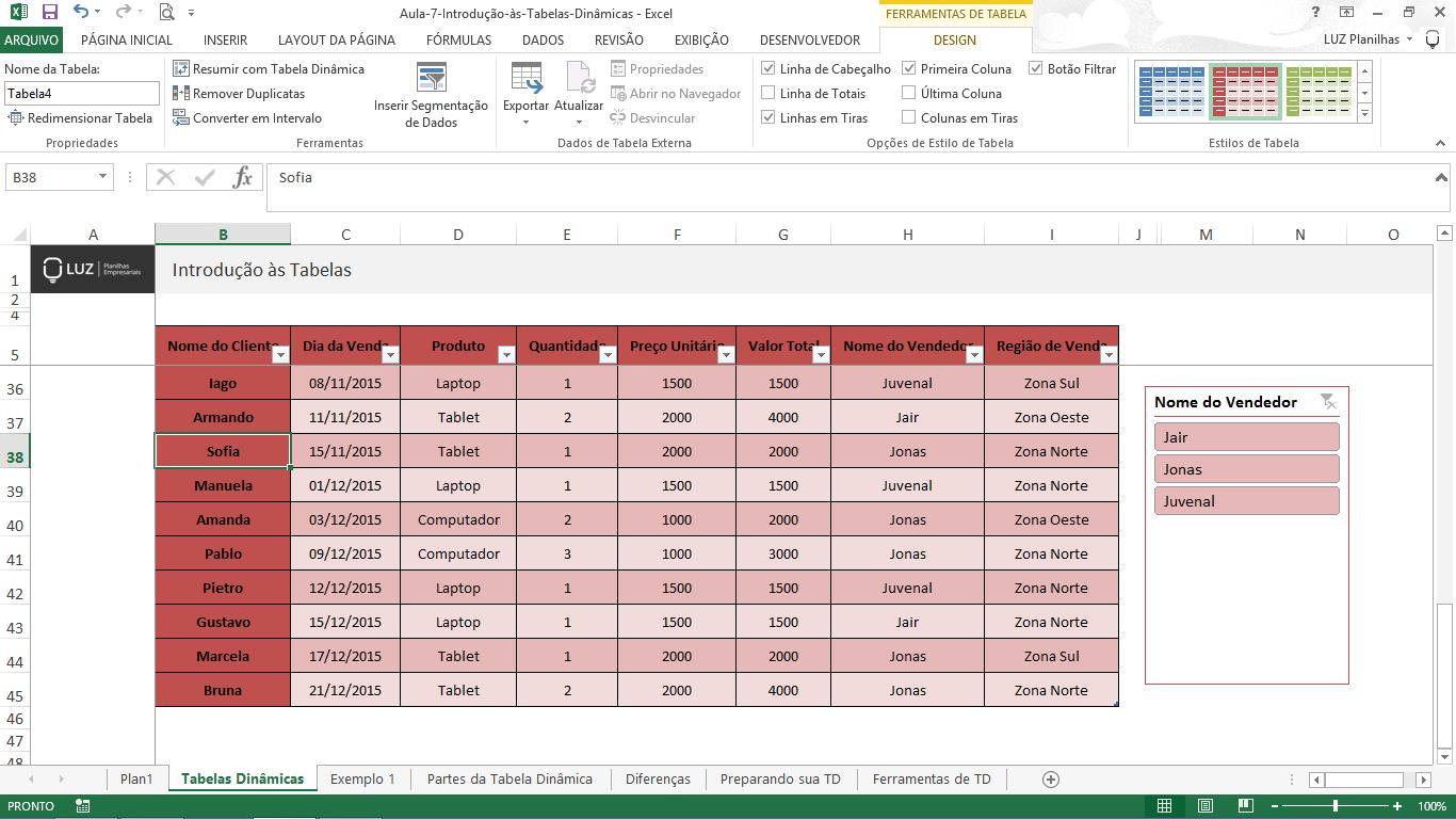 Como fazer tabela no Excel - exemplo tabela final