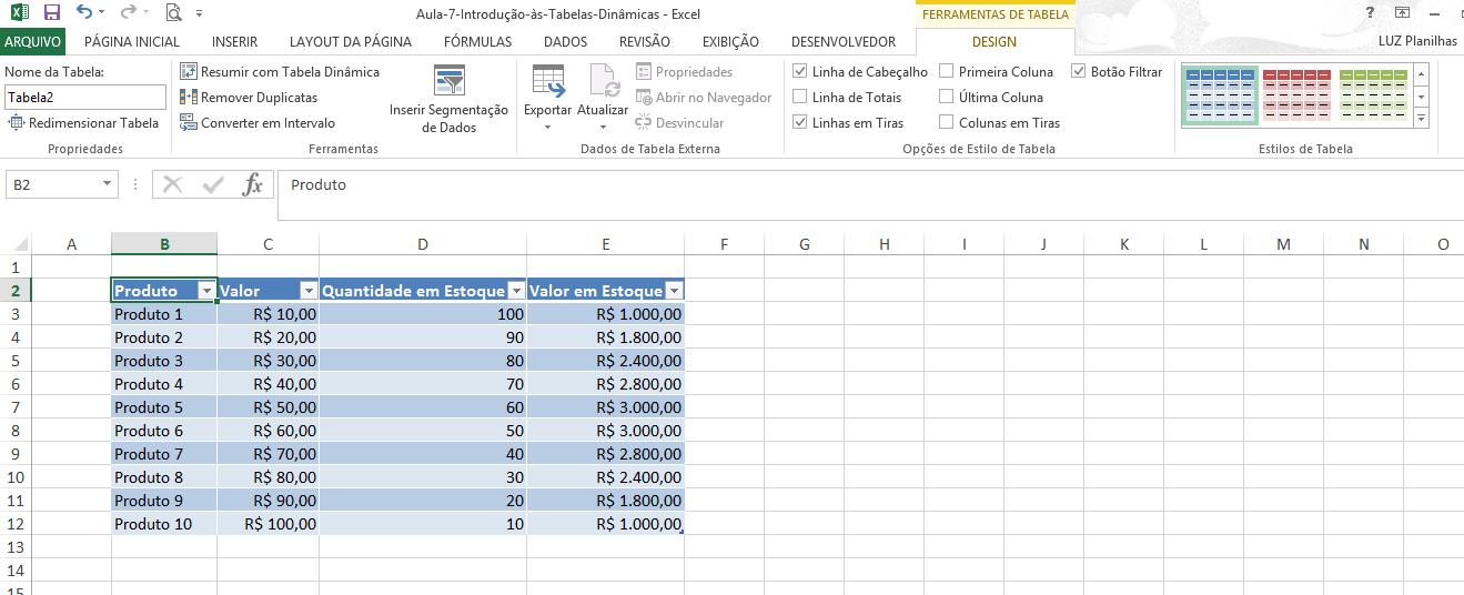Como criar tabela no Excel - tabela de estoque pronta