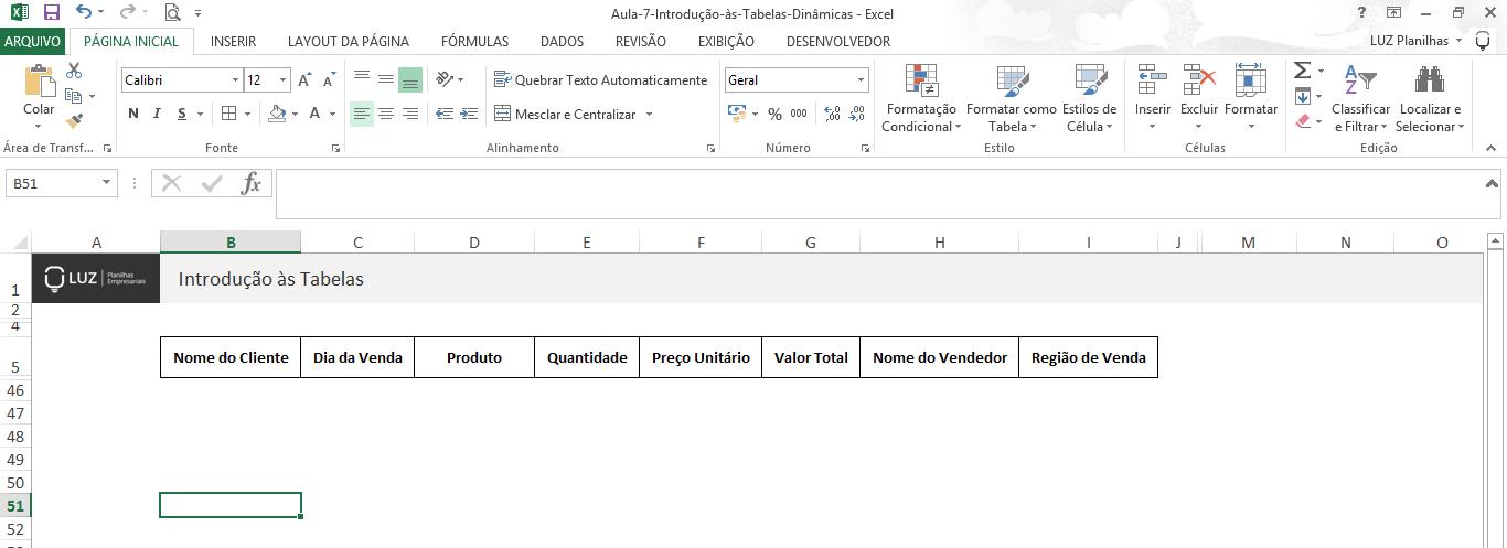 Como fazer tabela no Excel - definindo cabeçalho