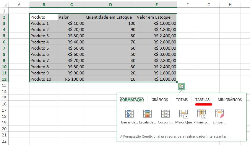 Como fazer tabela no Excel - ferramenta de análise rápida