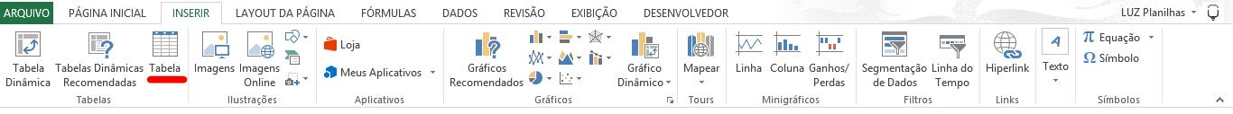 Como fazer tabela no Excel - guia inserir tabela