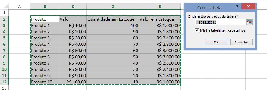Como fazer tabela no Excel - janela criar tabela