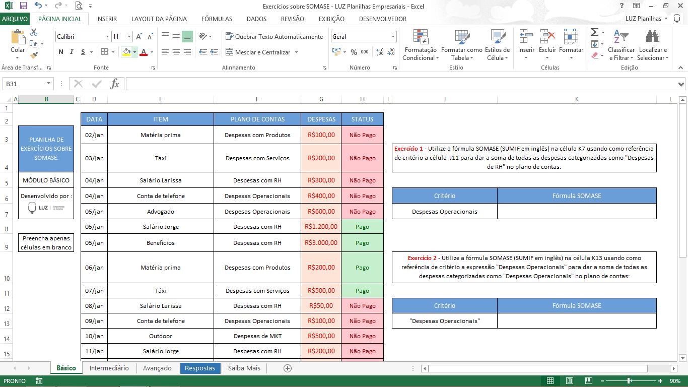Exercícios de Excel - Exercício SOMASE