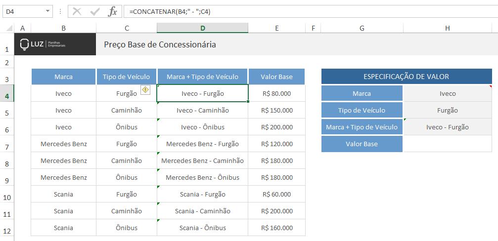 PROCV com mais de uma condição - tabela modificada
