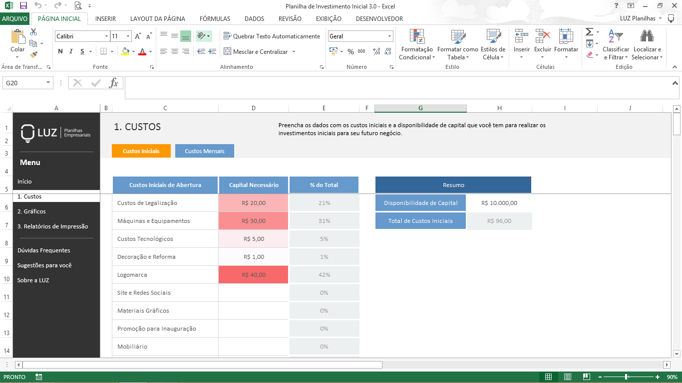 Planilhas prontas grátis - planilha de investimento inicial